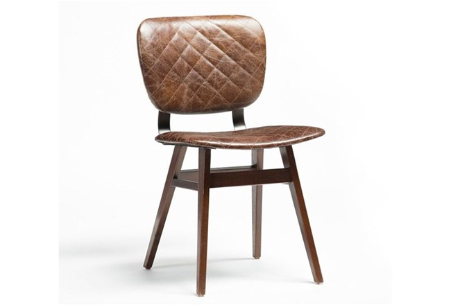 Quilted Brown Dining Chair - 360