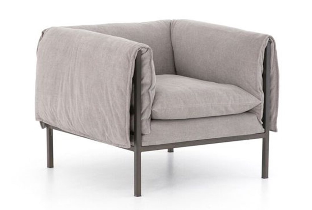 Grey Foldover Arm Accent Chair Living Spaces