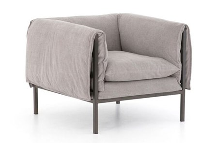 Grey Foldover Arm Accent Chair