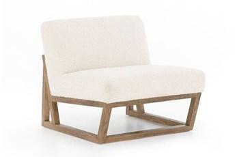 Ivory Armless Chair On Wood Frame