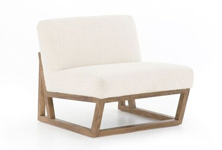 Ivory Armless Chair On Wood Frame