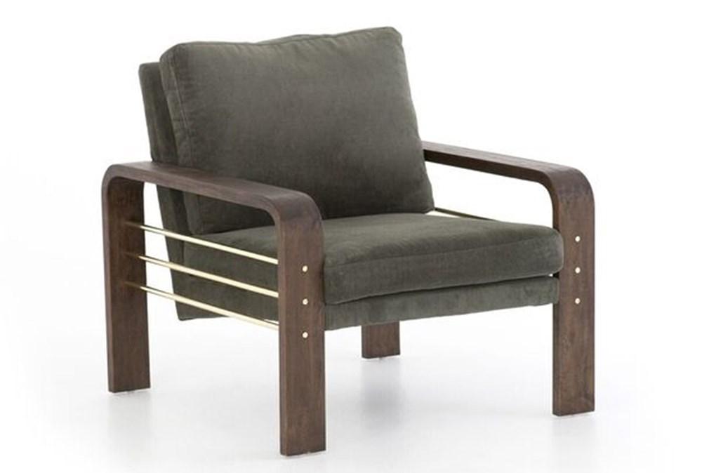 Dark Olive Channel Accent Chair