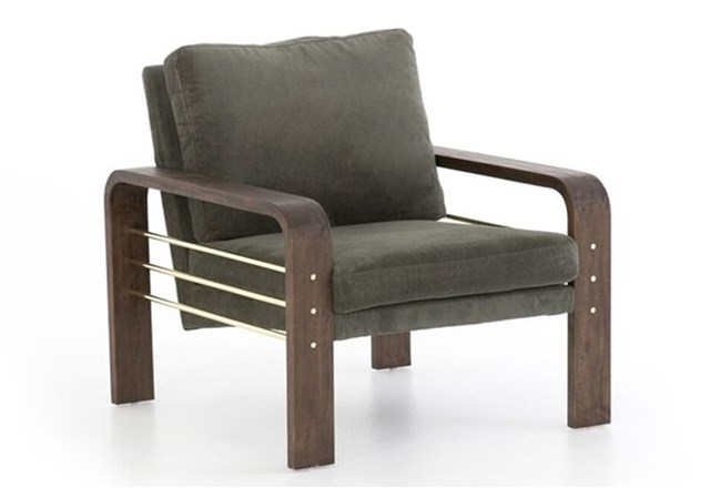 Dark Olive Channel Accent Chair - 360