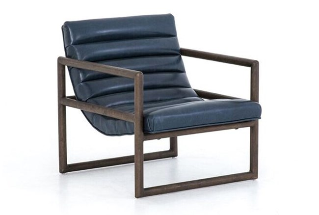 Blue Channel Leather Accent Chair - 360