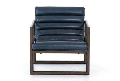 Enjoyable Blue Channel Leather Accent Chair Machost Co Dining Chair Design Ideas Machostcouk