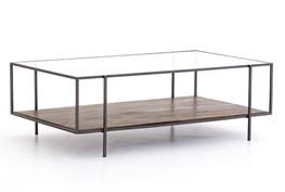 Aged Wood & Gunmetal Coffee Table
