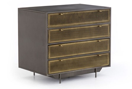 Perforated Brass Patina Gunmetal File Drawer