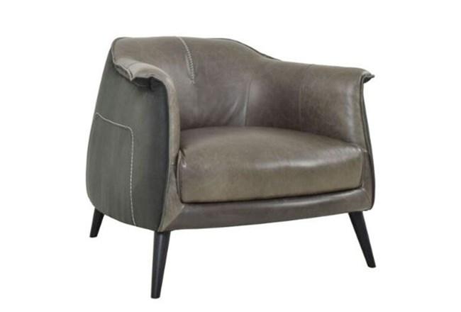Grey Exposed Stitch Club Chair - 360