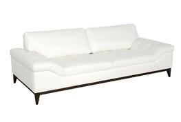 White Leather Studio Sofa W/ Black Base