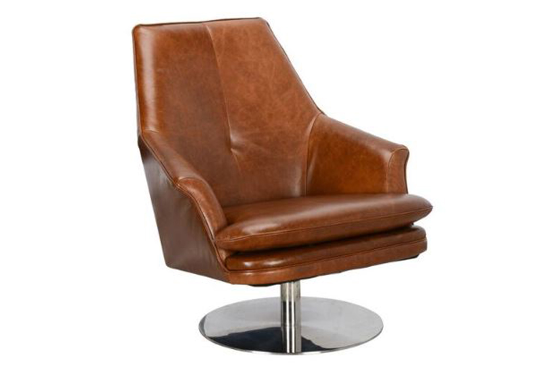 Lovely Swivel Tobacco Leather Chair   360 Elements