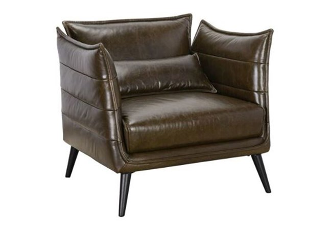 Brown Leather Winged Accent Chair - 360