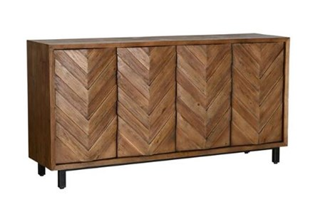 Brown Chevron 4-Door Sideboard
