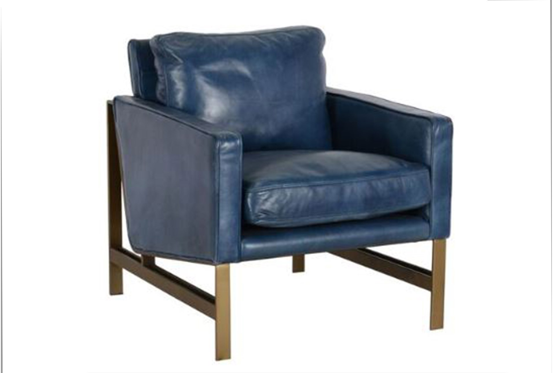 Blue Leather Club Chair 360 Elements View Size Large
