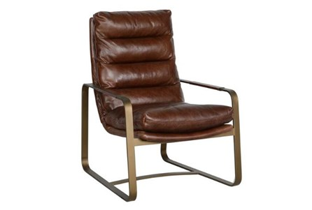 Brown Channel Back Club Chair