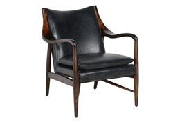 Black Leather And Walnut Club Chair