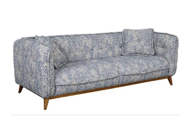 Curved Printed Blue Sofa - 360