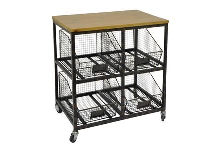 Black Metal Wood Storage Cabinet
