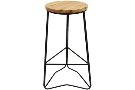 Brown Wood/Metal Bar Stool