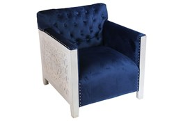 Navy Velvet & White Wash Chair