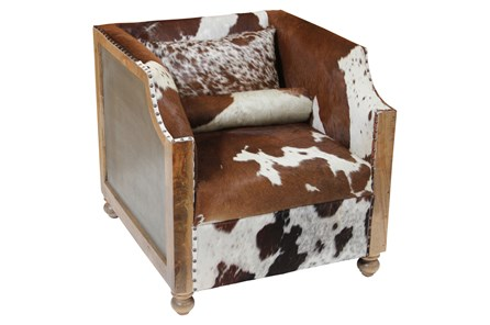 Cowhide Wood Frame Club Chair