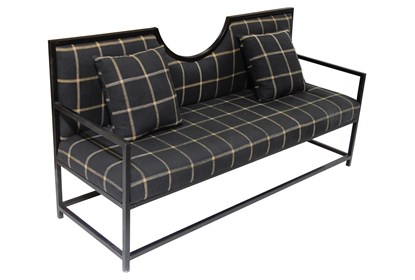 Stupendous Navy Plaid Loveseat On Metal Frame Onthecornerstone Fun Painted Chair Ideas Images Onthecornerstoneorg