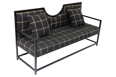 Navy Plaid Loveseat On Metal Frame