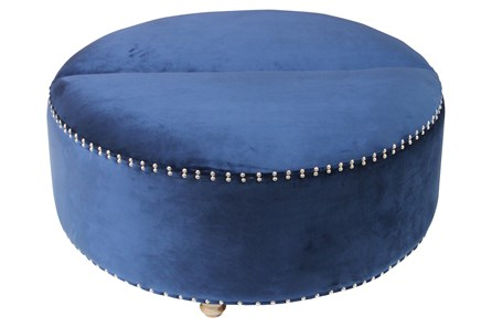 Studded Navy Storage Ottoman