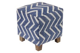 Blue And White Chevron Stripe Accent Stool
