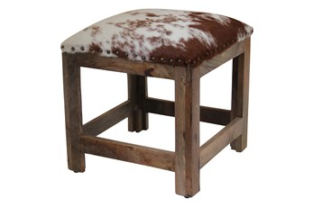 Studded Cowhide Accent Stool