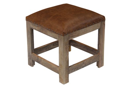 Brown Leather Square Accent Stool