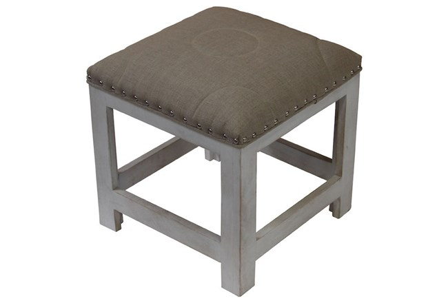 White Wash Accent Stool - 360