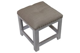 White Wash Studded Accent Stool