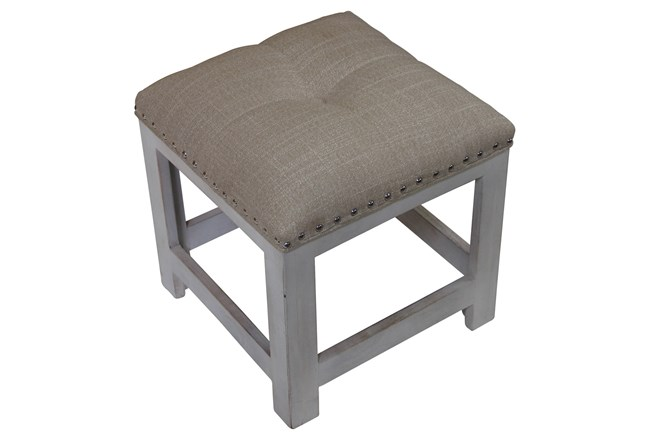 White Wash Studded Accent Stool - 360