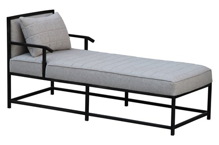 Grey Quilted Chaise