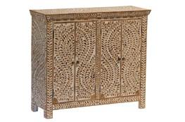 Wood Inlay 4 Door Cabinet