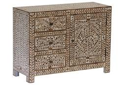 Wood Inlay 3 Drawer 1 Door Cabinet