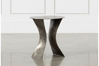 Antique Nickel Curved Accent Table