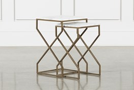 White Marble + Brass Nesting Accent Tables