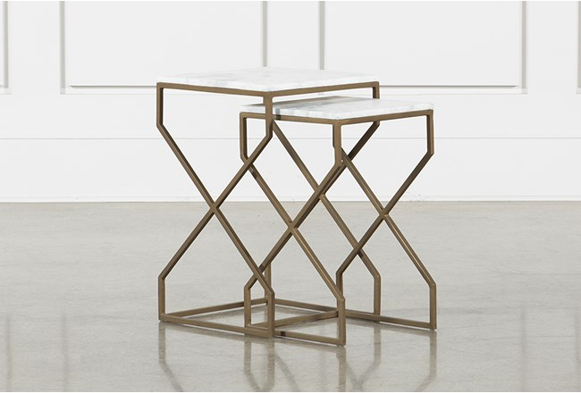 White Marble + Brass Nesting Accent Tables - 360