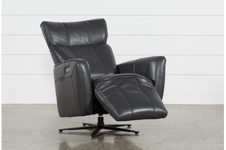 Jules Slate Leather Swivel Power Recliner With Adjustable Headrest & Built-In Battery