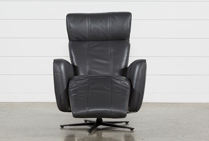 Outstanding Jules Slate Leather Swivel Power Recliner With Adjustable Headrest Built In Battery Creativecarmelina Interior Chair Design Creativecarmelinacom