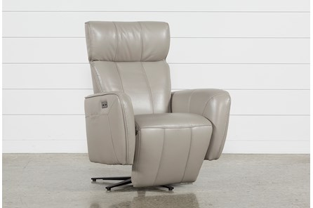 Jules Taupe Leather Swivel Power Recliner With Adjustable Headrest & Built-In Battery