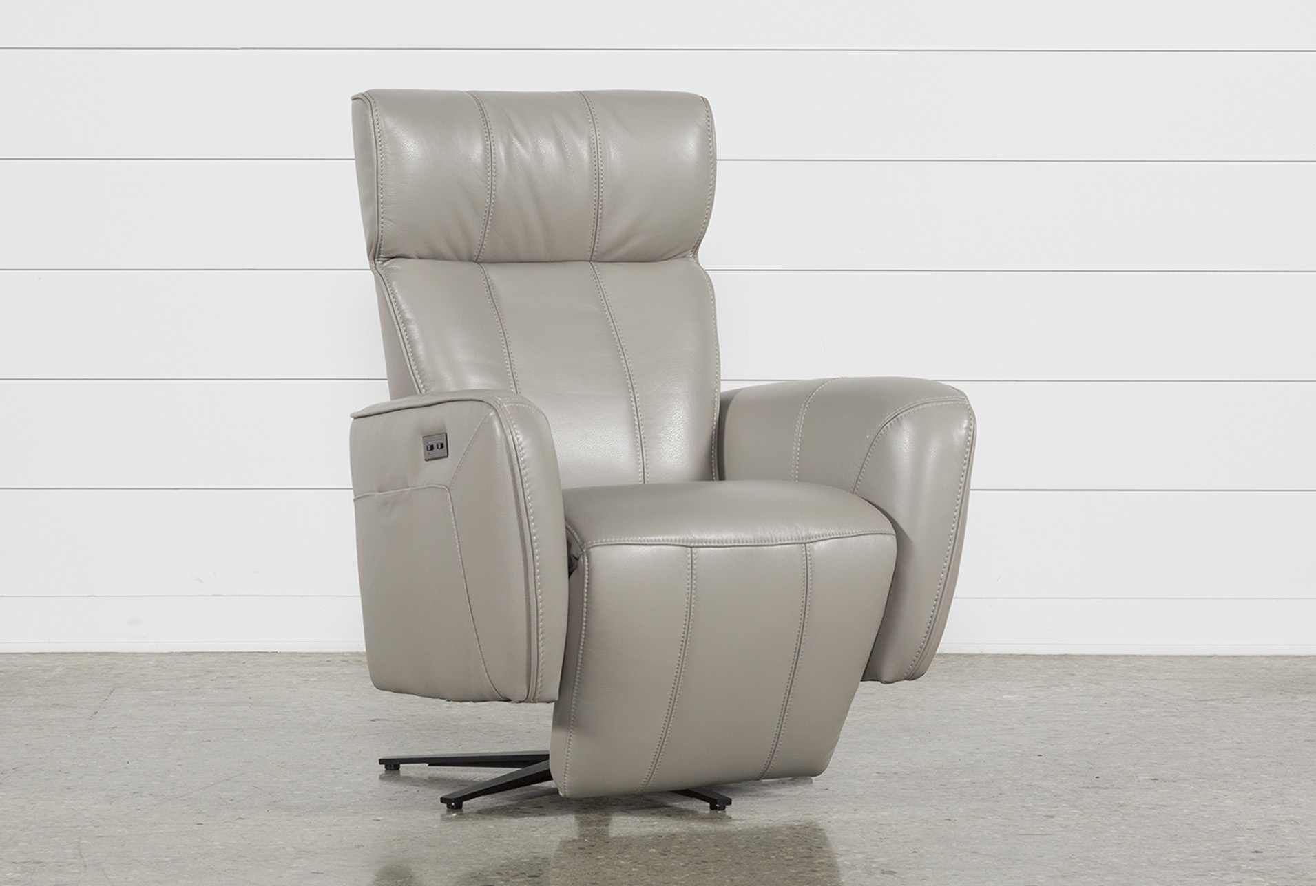Jules Taupe Leather Swivel Power Recliner With Adjustable Headrest U0026  Built In Battery