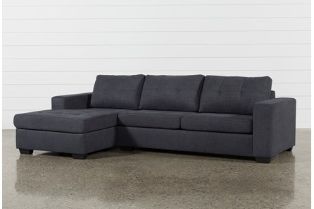 Remington Charcoal 2 Piece Sleeper Sectional With Left Arm Facing Storage Chaise