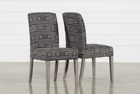 Garten Onyx Chairs W/Greywash Finish Set Of 2
