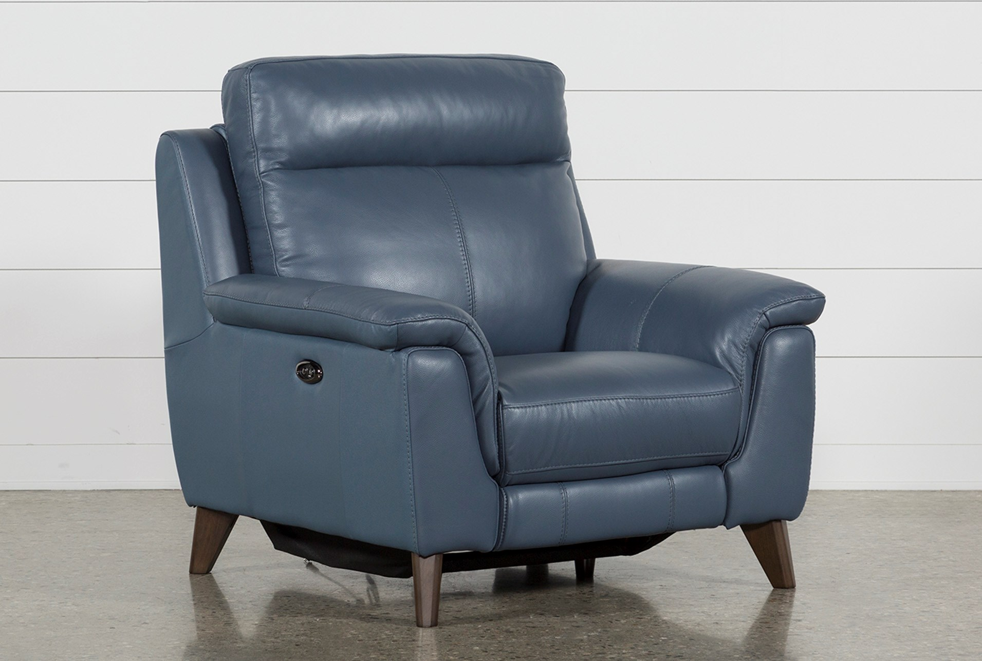 Moana Blue Leather Power Reclining Chair With Usb Living