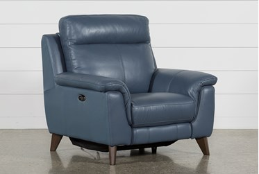 Moana Blue Leather Power Reclining Chair With Usb