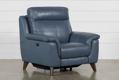 Swell Moana Blue Leather Power Reclining Chair With Usb Ibusinesslaw Wood Chair Design Ideas Ibusinesslaworg