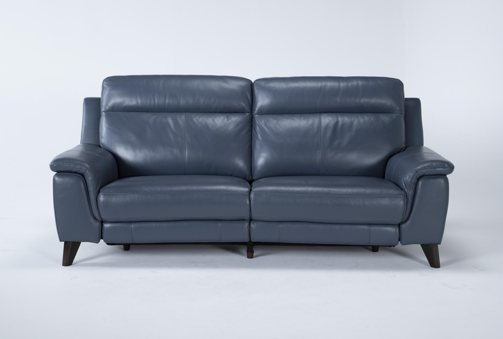 """Moana Blue Leather Dual 87"""" Power Reclining Sofa With Usb   Living Spaces"""