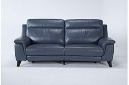 Moana Blue Leather Dual Power Reclining Sofa With Usb